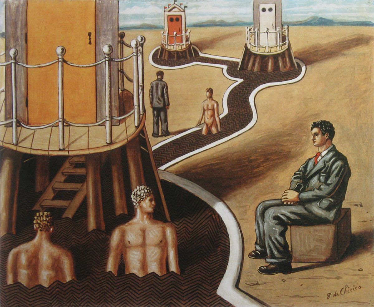 Giorgio de Chirico, Geheimzinnige baden 1935olieverf op doek 38,1-46cm